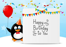 Funny penguin. With Birthday banner Stock Photos