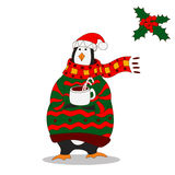 Funny penguin. Christmas hat. vector. Penguin wearing scarf and pullover Christmas hat. vector Royalty Free Stock Image