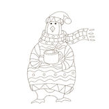 Funny penguin. Christmas hat. vector. Penguin wearing scarf and pullover Christmas hat. vector Royalty Free Illustration