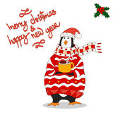 Funny penguin. Christmas hat. vector. Penguin wearing scarf and pullover Christmas hat. vector Stock Images