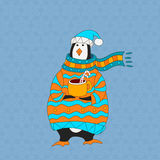 Funny penguin. Christmas hat. vector. Penguin wearing scarf and pullover Christmas hat. vector Royalty Free Stock Photography