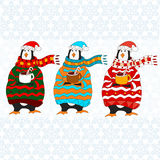 Funny penguin. Christmas hat. vector. Penguin wearing scarf and pullover Christmas hat. vector Stock Photos