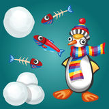 Funny Penguin with Fishes and Snowballs Stock Images