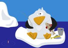 Funny penguin fishing on ice Stock Image