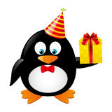 Funny penguin. With gift box Royalty Free Stock Photos