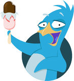 Funny penguin with ice cream Stock Images