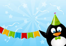 Funny penguin. With party flags Royalty Free Stock Photo