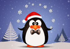 Funny penguin playing with snowflakes Stock Image