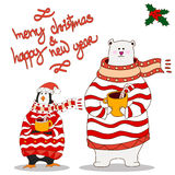 Funny penguin and polar bear.Christmas hat. vector. Penguin and bear wearing scarf and pullover Christmas hat. vector Royalty Free Stock Image