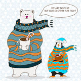 Funny penguin and polar bear. Christmas hat.vector. Penguin and bear wearing scarf and pullover Christmas hat. vector Royalty Free Illustration