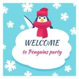 Funny penguin poster Stock Photos