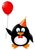 Funny penguin. With red balloon Stock Photo