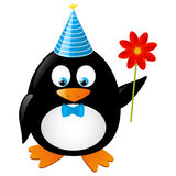 Funny penguin. With red flower Royalty Free Stock Photo