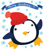 Funny Penguin in Red Hat Stock Photo