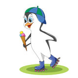 Funny penguin on rollers in a baseball cap on his head  Royalty Free Stock Photo