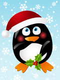 Funny penguin stripper. In santa hat Stock Photo