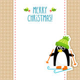 Funny penguin vector Christmas greeting card design template Royalty Free Stock Photos