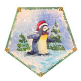 Funny penguin watercolor Royalty Free Stock Photography