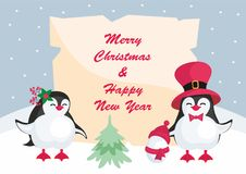 Funny penguins background. Christmas greeting card with the image of cute penguins. Children`s vector background Royalty Free Stock Photo