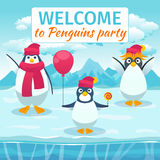 Funny penguins card or party invitation. Vector Royalty Free Stock Photography