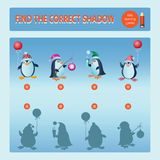 Funny penguins. Find the correct shadow. Educational game for children. Cartoon vector illustration. Kids learning games collection Royalty Free Stock Photos