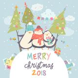 Funny penguins friends celebrating Christmas. Vector illustration Royalty Free Stock Photos
