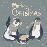 Funny penguins friends celebrating Christmas. Vector illustration Royalty Free Stock Image