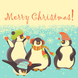 Funny penguins friends celebrating Christmas Stock Image