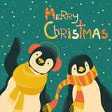 Funny penguins friends celebrating Christmas. Vector illustration Stock Photos