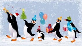 Funny penguins stock illustration