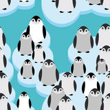 Funny penguins on an ice floe seamless pattern Stock Images