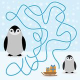 Funny penguins labyrinth game  winter card for Royalty Free Stock Photo