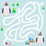 Funny penguins in the red hat, snowflakes and gifts, christmas winter labyrinth game for Preschool Children on blue background. Ve Royalty Free Stock Photo
