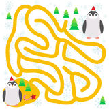 Funny penguins in the red hat, snowflakes and gifts, christmas winter labyrinth game for Preschool Children on white background. V Royalty Free Stock Images