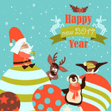 Funny penguins with Santa Claus celebrating Christmas. Vector illustration Stock Photography