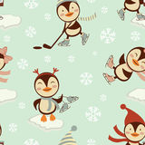 Funny penguins skating on ice pattern Stock Photos