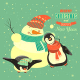 Funny penguins with snowman celebrating Christmas. Vector illustration Stock Photos