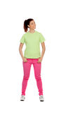 Funny pensive girl with pink jeans Royalty Free Stock Photos