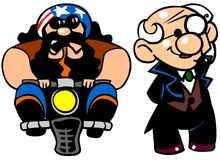 Funny people. Cartoon illustration of a biker and a man in tuxedo Stock Image