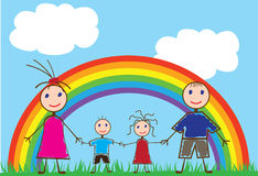 Funny people. Illustration of funny people and a rainbow Stock Photography