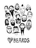 Funny people with beards. Funny  illustration with beards and different people.  Isolated  objects Royalty Free Stock Photos