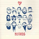 Funny people with beards on paper background. Funny vector illustration with beards and different people on paper background.  Isolated editable objects Royalty Free Stock Photography