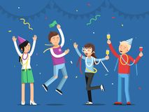 Funny people celebrating on the party. Mascot designs in flat style. Party and celebration, people dance and joy. Vector illustration Royalty Free Stock Photography