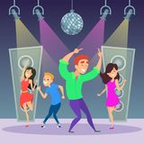 Funny people dancing on dance floor. Disco party. Funny people dancing on dance floor. Man and woman on disco party. Vector illustration Stock Photography