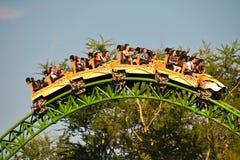 Funny people enjoying CHEETAH HUNT Rollercoaster at Bush Gardens Theme Park. Tampa, Florida; September 29,2018. Funny people enjoying CHEETAH HUNT Rollercoaster stock photography