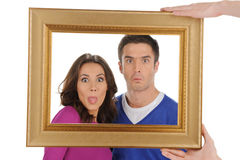 Funny people in frame. Royalty Free Stock Photo