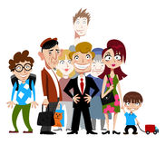 Funny people. Group of different stylized people isolated on white Royalty Free Stock Photography