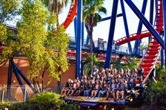 Funny people having fun terrifying trip in Rollercoaster at Bush Gardens at Bush Gardens Tampa Bay Theme Park. Tampa, Florida. December 26, 2018 Funny people stock images