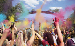 Funny people on Holi festival Stock Photography