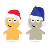 Funny people icon with christmas hat vector. Illustration Royalty Free Stock Images